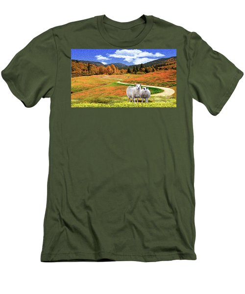 Sheep And Road Ver 2 Men's T-Shirt (Athletic Fit)