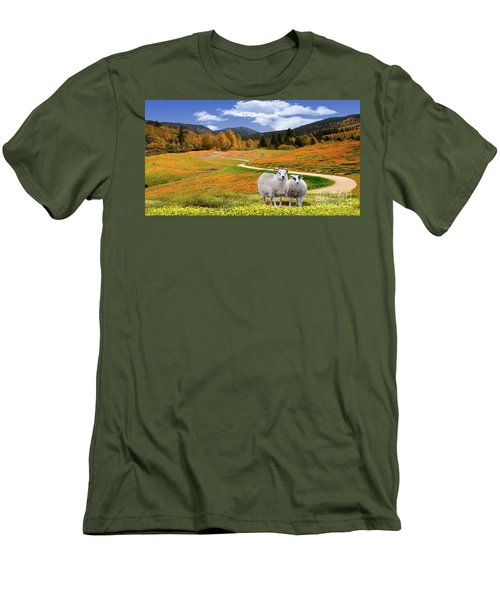Sheep And Road Ver 3 Men's T-Shirt (Athletic Fit)