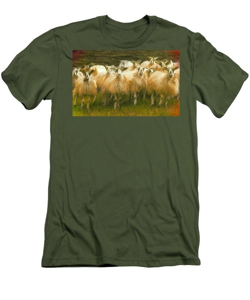 Sheep At Hadrian's Wall Men's T-Shirt (Slim Fit) by Caito Junqueira