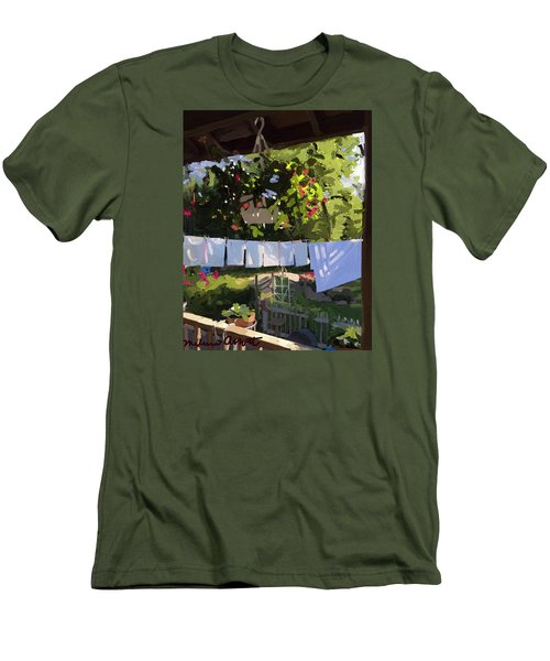 Sheets And Pillow Cases On The Line With Lantana Flowers Men's T-Shirt (Athletic Fit)
