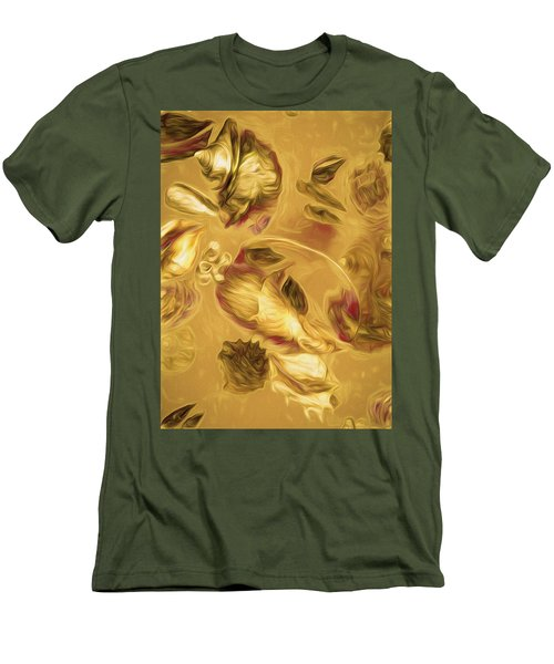 Men's T-Shirt (Athletic Fit) featuring the mixed media Shell Medley In Yellow by Lynda Lehmann