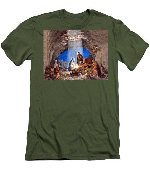 Shepherds Field Nativity Painting Men's T-Shirt (Slim Fit) by Munir Alawi