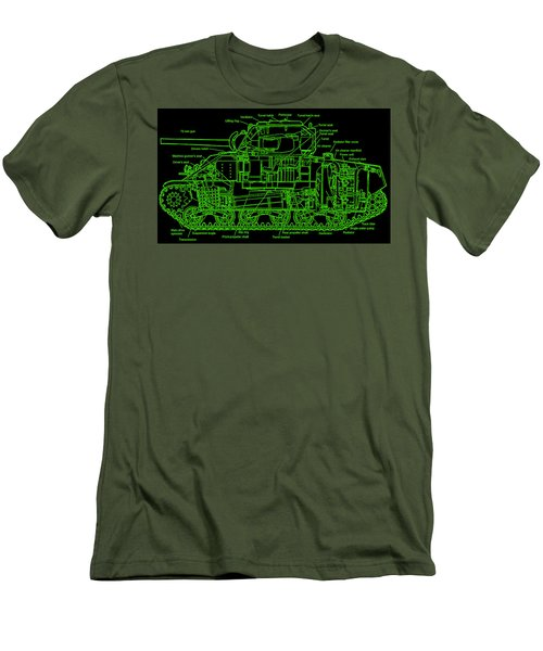 Men's T-Shirt (Slim Fit) featuring the drawing Sherman M4a4 Tank by Robert Geary