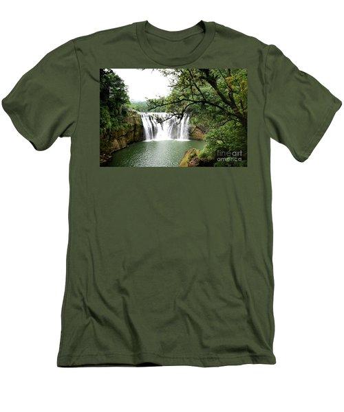 Men's T-Shirt (Slim Fit) featuring the photograph Shifen Waterfall  by Hanza Turgul