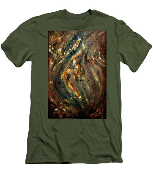 Men's T-Shirt (Slim Fit) featuring the painting Shiva Eternal Dance by Harsh Malik