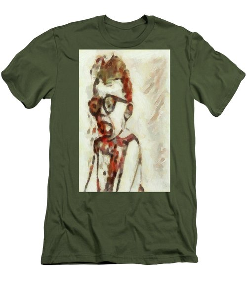 Men's T-Shirt (Slim Fit) featuring the painting Shocked Scared Screaming Boy With Curly Red Hair In Glasses And Overalls In Acrylic Paint As A Loose by MendyZ