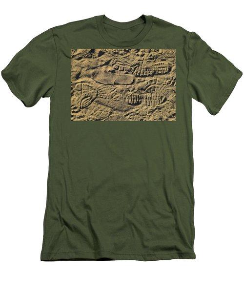 Men's T-Shirt (Slim Fit) featuring the photograph Shoe Prints by R  Allen Swezey