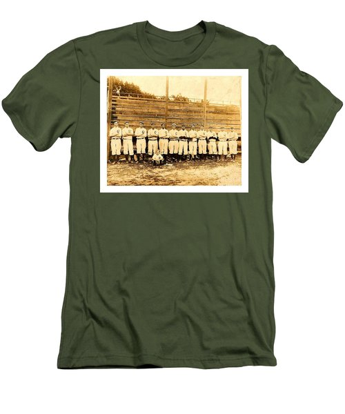 Men's T-Shirt (Athletic Fit) featuring the photograph Shoeless Joe Jackson Age 19 With His Greenville South Carolina Baseball Team 1908 by Peter Gumaer Ogden