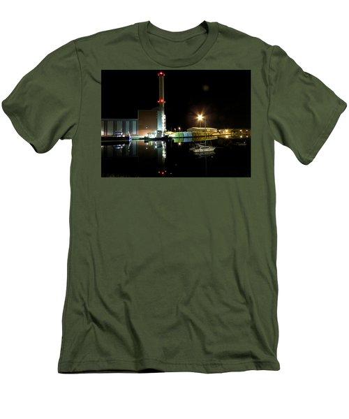 Shoreham Power Station Night Reflection 2 Men's T-Shirt (Slim Fit) by John Topman