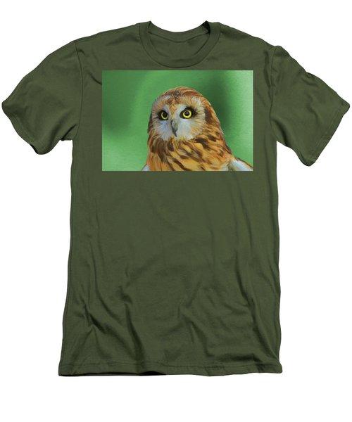 Short Eared Owl On Green Men's T-Shirt (Slim Fit) by Dan Sproul