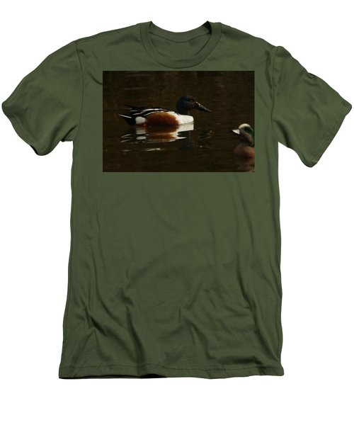 Men's T-Shirt (Slim Fit) featuring the photograph Shovel Tail And A Wigeon by Jeff Swan