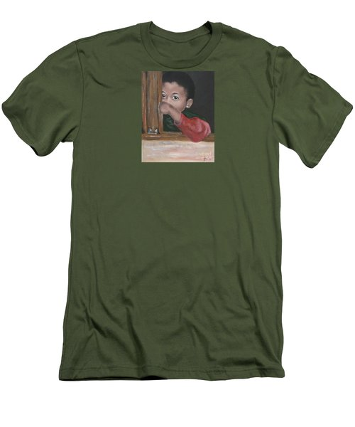 Men's T-Shirt (Slim Fit) featuring the painting Shy by Annemeet Hasidi- van der Leij