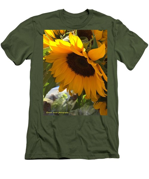 Shy Sunflower Men's T-Shirt (Slim Fit) by Nance Larson