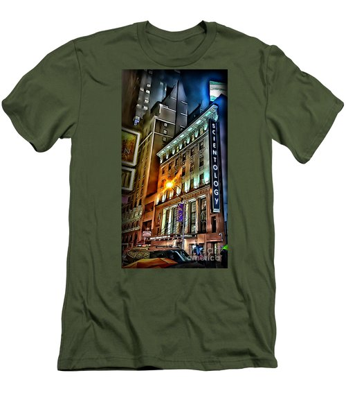 Men's T-Shirt (Slim Fit) featuring the photograph Sights In New York City - Scientology by Walt Foegelle