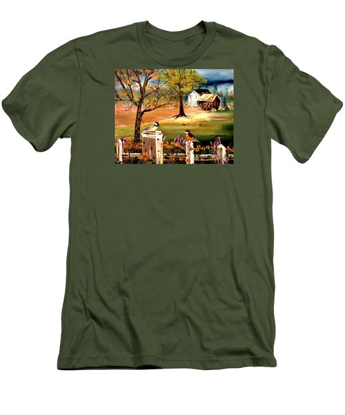 Men's T-Shirt (Slim Fit) featuring the painting Signs Of Spring by Denise Tomasura