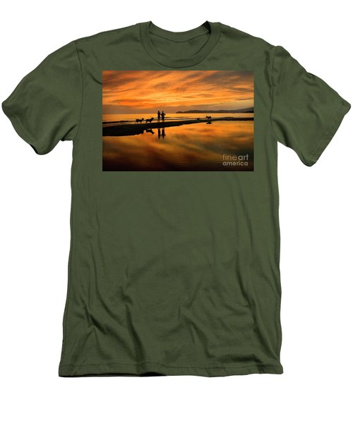 Silhouette And Amazing Sunset In Thassos Men's T-Shirt (Athletic Fit)