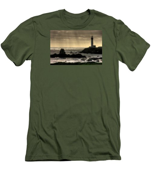 Silhouette Sentinel - Pigeon Point Lighthouse - Central California Coast Spring Men's T-Shirt (Slim Fit) by Michael Mazaika
