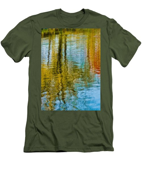 Silver Lake Autum Tree Reflections Men's T-Shirt (Slim Fit) by Michael Bessler