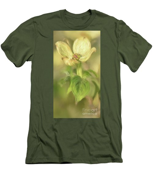Men's T-Shirt (Slim Fit) featuring the digital art Single Dogwood Blossom In Evening Light by Lois Bryan