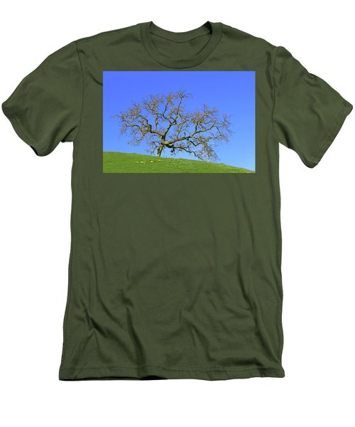 Men's T-Shirt (Slim Fit) featuring the photograph Single Oak Tree by Art Block Collections