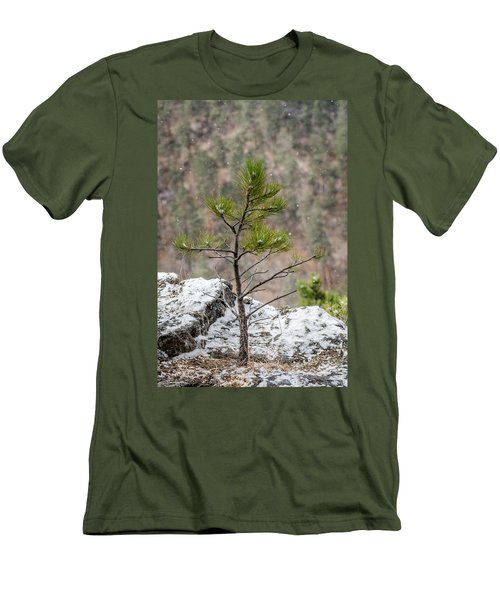 Single Snowy Pine Men's T-Shirt (Athletic Fit)