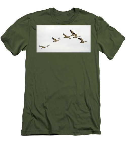 Men's T-Shirt (Slim Fit) featuring the photograph Six Snowgeese Flying by Mike Dawson