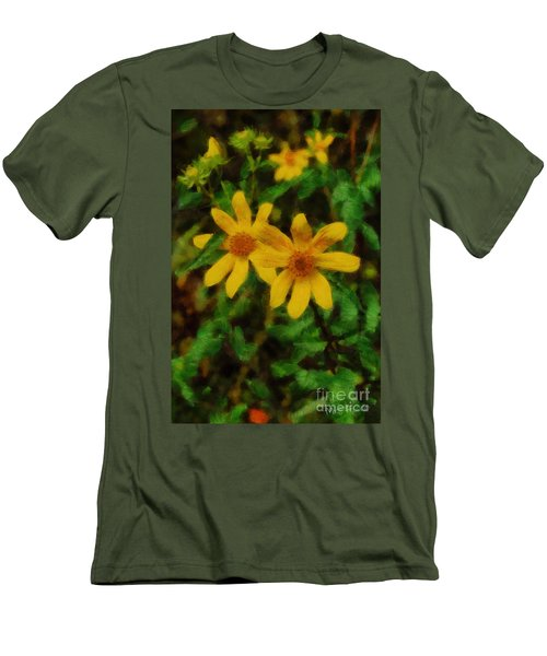 Sixteen Petals  Two Yellow Wildflowers Men's T-Shirt (Slim Fit) by Michael Flood