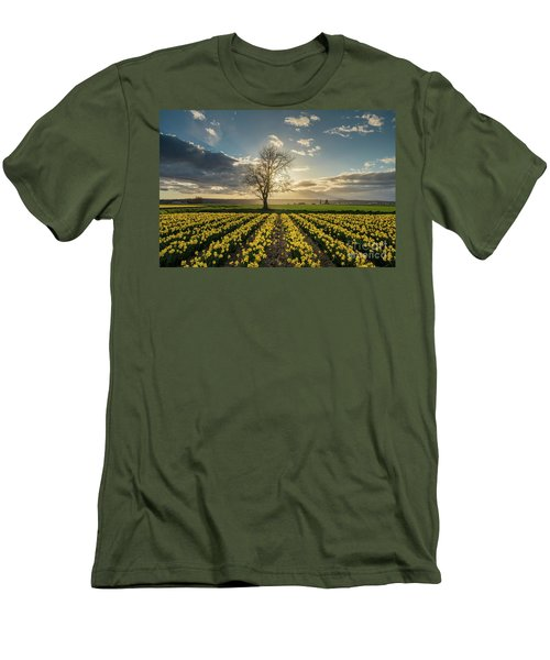 Men's T-Shirt (Slim Fit) featuring the photograph Skagit Daffodils Lone Tree  by Mike Reid