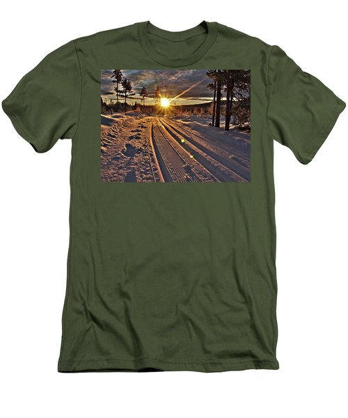 Ski Trails With Sun Beams Men's T-Shirt (Slim Fit) by Tamara Sushko