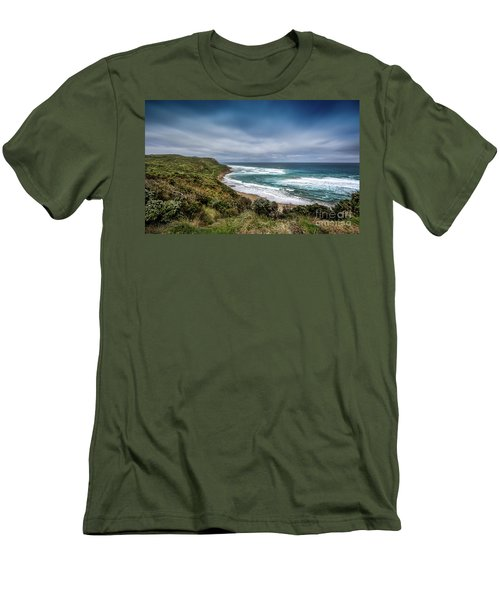 Men's T-Shirt (Slim Fit) featuring the photograph Sky Blue Coast by Perry Webster