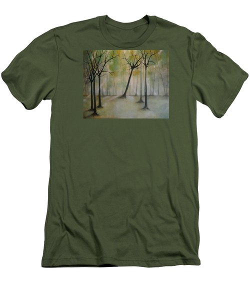 Men's T-Shirt (Slim Fit) featuring the painting Sleeping Trees by Tamara Bettencourt