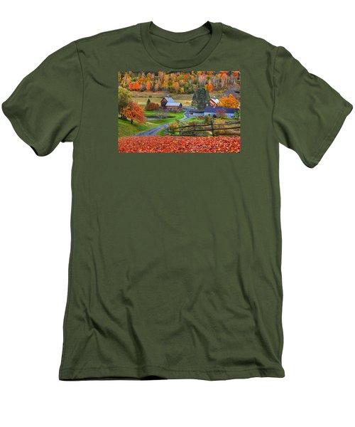 Sleepy Hollows Farm Woodstock Vermont Vt Autumn Bright Colors Men's T-Shirt (Athletic Fit)