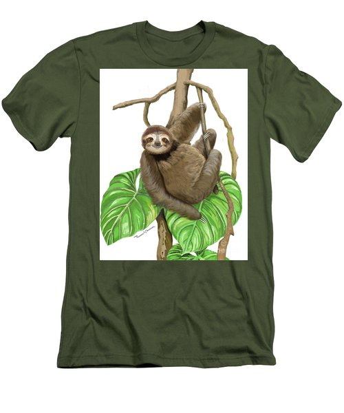 Men's T-Shirt (Athletic Fit) featuring the mixed media Hanging Three Toe Sloth  by Thomas J Herring