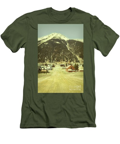 Men's T-Shirt (Slim Fit) featuring the photograph Small Rocky Mountain Town by Jill Battaglia