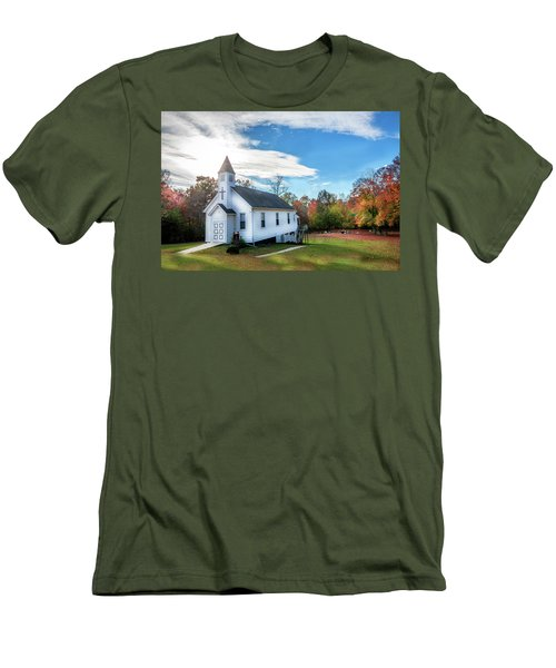 Small Wooden Church In The Countryside During Autumn Men's T-Shirt (Athletic Fit)
