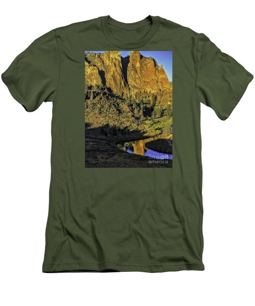 Smith Rock Reflections-1 Men's T-Shirt (Slim Fit) by Nancy Marie Ricketts