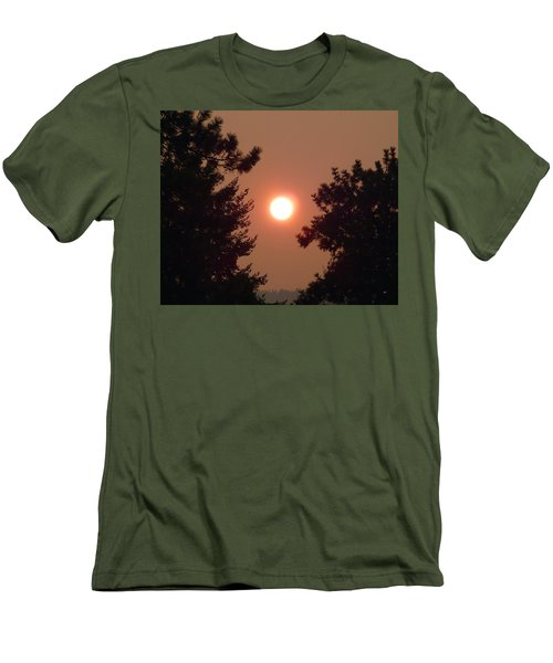 Men's T-Shirt (Athletic Fit) featuring the photograph Smoke Shrouded Sun   by Will Borden