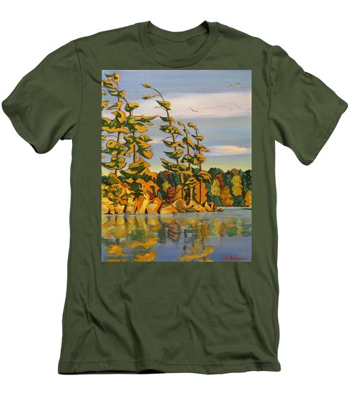 Snake Island In Fall Sunset Men's T-Shirt (Slim Fit) by David Gilmore