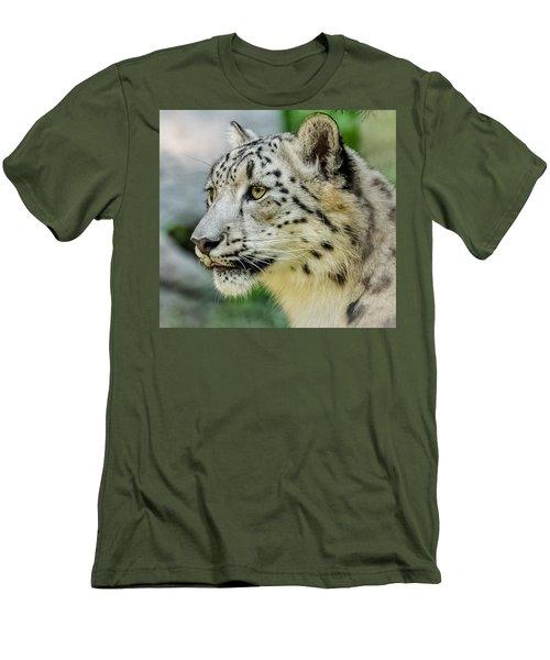 Snow Leopard Portrait Men's T-Shirt (Slim Fit) by Yeates Photography