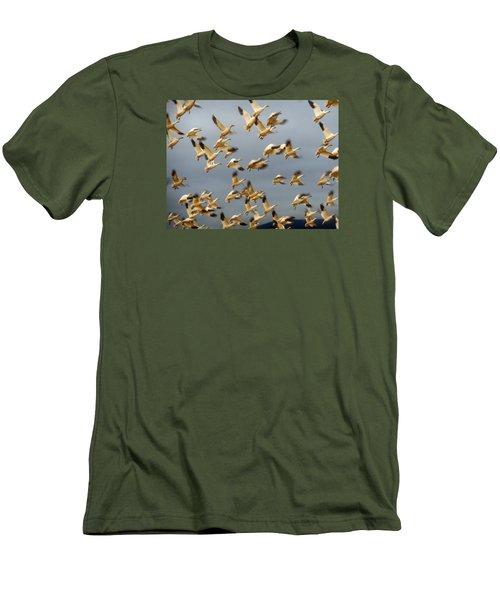 Snowgeese In Flight 2 Men's T-Shirt (Slim Fit) by Karen Molenaar Terrell