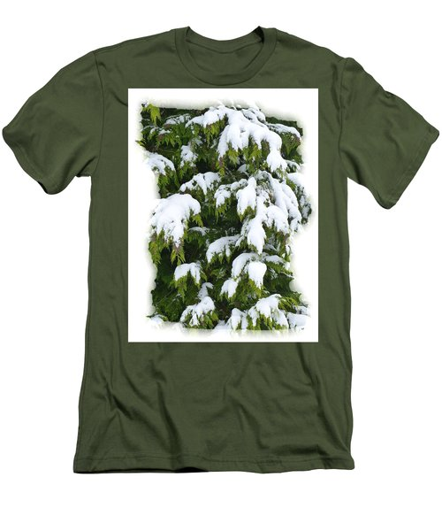 Men's T-Shirt (Slim Fit) featuring the photograph Snowy Cedar Boughs by Will Borden