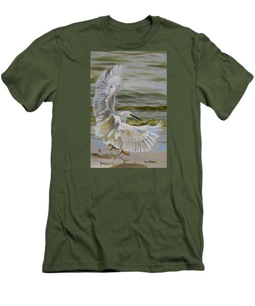 Snowy Egret Landing On The Shore Men's T-Shirt (Slim Fit) by Phyllis Beiser