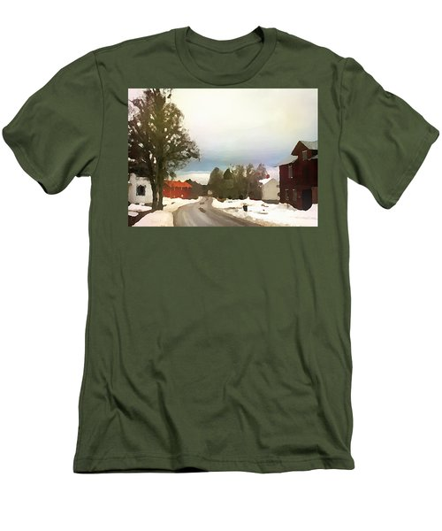 Snowy Street With Red House Men's T-Shirt (Athletic Fit)