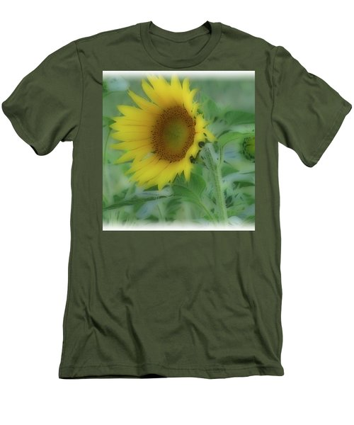 Men's T-Shirt (Slim Fit) featuring the photograph Soft Touch Sunflower by Debra     Vatalaro