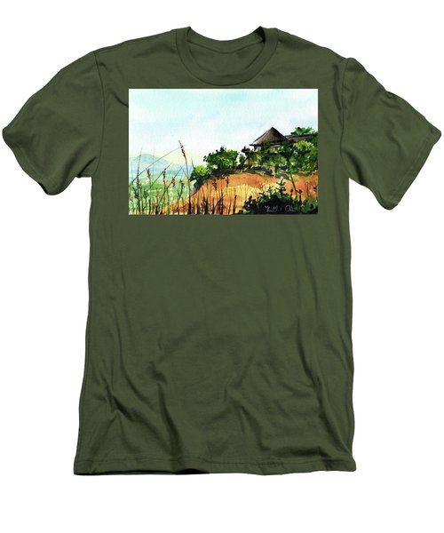 Men's T-Shirt (Athletic Fit) featuring the painting Solitary Cottage In Malawi by Dora Hathazi Mendes