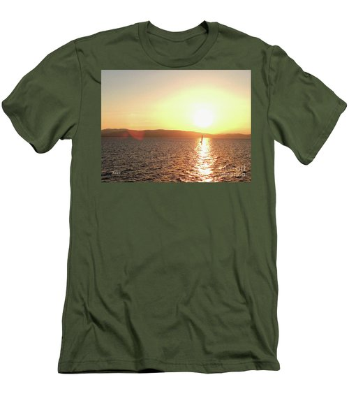 Solitary Sailboat Men's T-Shirt (Athletic Fit)