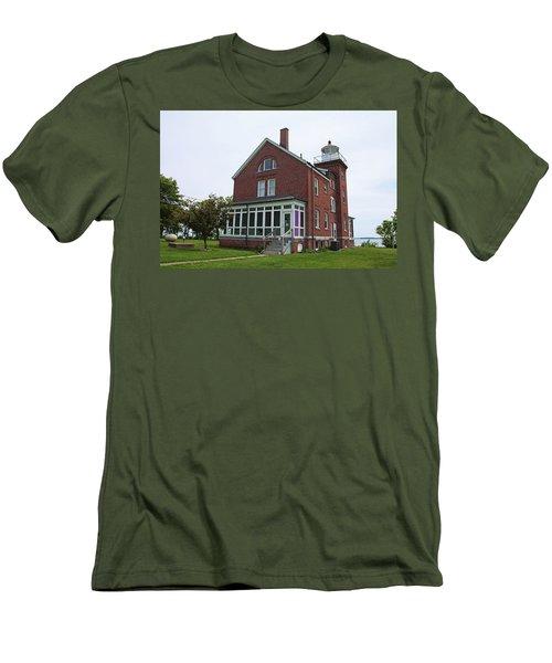 South Bass Island Lighthouse- Horizontal Men's T-Shirt (Slim Fit) by Michiale Schneider