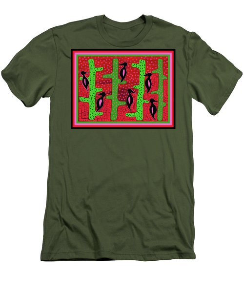 Men's T-Shirt (Athletic Fit) featuring the digital art Southwest Saguaro Birds by Vagabond Folk Art - Virginia Vivier
