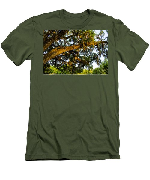 Men's T-Shirt (Slim Fit) featuring the photograph Spanish Moss In The Gloaming by Deborah Smolinske