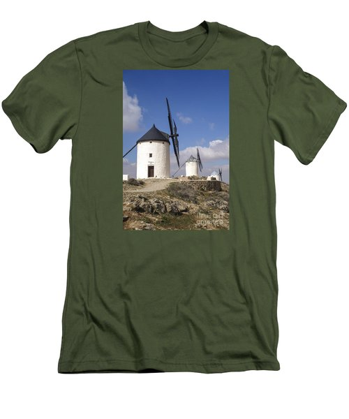 Spanish Windmills In The Province Of Toledo, Men's T-Shirt (Slim Fit) by Perry Van Munster